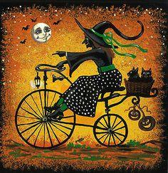 8x8 PRINT OF PAINTING RYTA FOLK ART HALLOWEEN BLACK CAT WITCH BICYCLE BASKET
