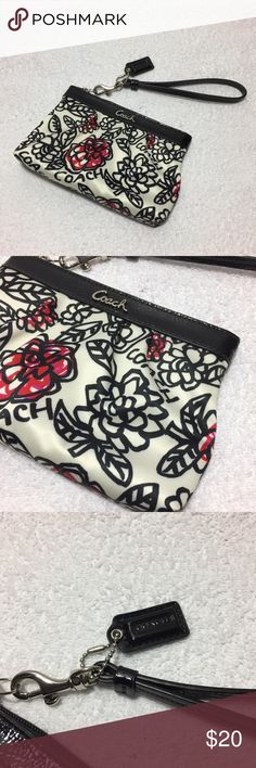 """Coach Poopy Print Fabric Wristlet Coach Poopy Print Fabric Wristlet. In like new condition. Size is approximately 6"""" x 4.5"""" with a 6"""" strap. 🚫Excluded from additional bundle discounts🚫 731/300/080517 Coach Bags Clutches & Wristlets"""