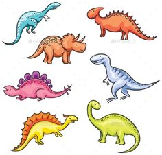 Illustration about Set of cartoon colorful dinosaurs. Illustration of cute, white, biology - 44609637 Dinosaur Sketch, Cartoon Dinosaur, Dinosaur Design, Dinosaur Images, Dinosaur Pictures, Images Of Dinosaurs, Dino Drawing, Easy Dinosaur Drawing, Drawing Ideas