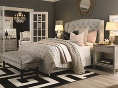 Check out this guide for how to arrange a small bedroom for tips on small bedroom layouts, small master bedroom design, and small bedroom organization. Romantic Master Bedroom, Small Master Bedroom, Master Bedroom Design, Beautiful Bedrooms, Bedroom Designs, Master Bedrooms, Feminine Bedroom, Master Suite, Black And Grey Bedroom
