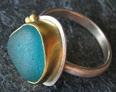 Sea Glass Jewelry Ring Size 7 Teal Turquoise Beach Glass Jewelry 22k Gold. Photo copyright Monica Branstrom Studio