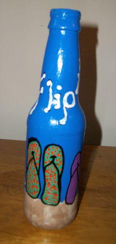 painted bottle - flip flops a floppin