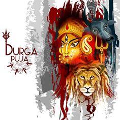 Happy Durga Puja India Festival Holiday Background Stock Vector - Illustration of bengali, culture: 125980895 Bengali Art, Bengali Culture, Kali Goddess, Goddess Art, Happy Durga Puja, Durga Maa, Durga Puja Kolkata, Durga Painting, Navratri Wishes