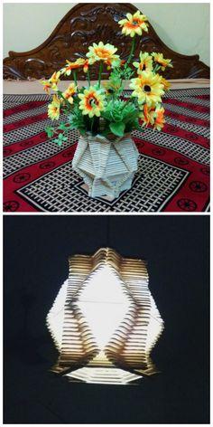 Popsicle Stick Flower Basket and Lamp #decoration #lighting