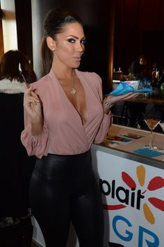 High waist leather leggings and a blushed color sexy shirt! Ahhh I lalalove this, I need this top asap! -Z