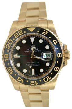 Rolex GMT Master II 116718 Ceramic Bezel Black Dial in 18K Yellow Gold Watch