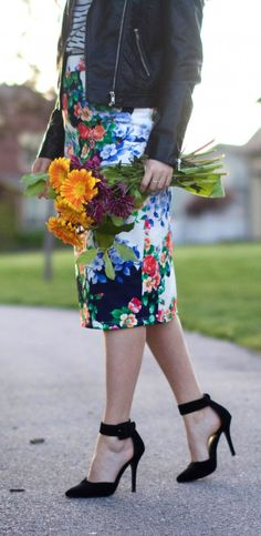 Floral Pencil Skirt, stripes, and a leather jacket | Modest Style Blog