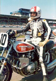 #10 Dave Aldana Kawasaki Vintage Racer At Daytona Speedway. Sporting The Skeleton Bones Bates Leathers.. Ready To Race That Kawasaki Motorcycle!