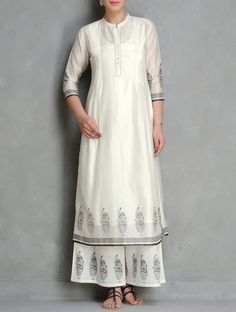 Ivory-Black Block Printed Pintuck Detailed Chanderi Kurta with Lining set of 2 by Kora India Fashion, Asian Fashion, Boho Fashion, Fashion Outfits, Pakistani Dresses, Indian Dresses, Indian Outfits, Kurta Designs Women, Blouse Designs