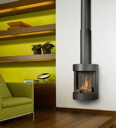 Small Gas Fireplace Design Home Interior Decorating Small Gas Fireplace, Gas Stove Fireplace, Hanging Fireplace, Fireplace Shelves, Fireplace Inserts, Modern Fireplace, Fireplace Design, Gas Fireplaces, Pellet Stove