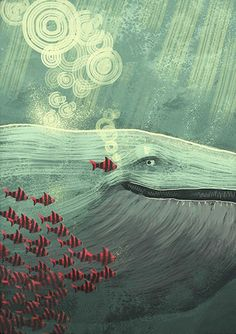 whale fish painting
