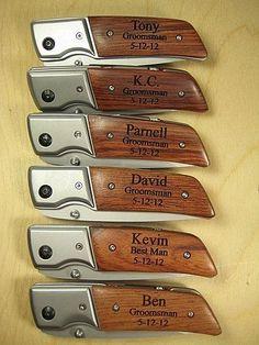 6 Engraved Knives Pocket Knife LED Flashlight Personalized Wood Groomsman Ring Bearer Best Man Gift  Hunting Hiking Keepsake. $150.00, via Etsy. #groomsmangifts
