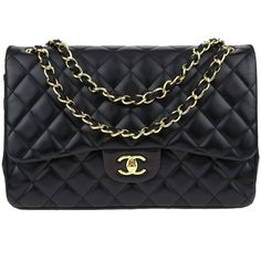 Pre-owned Chanel Black Lambskin Jumbo Double Flap Bag ($3,650) ❤ liked on Polyvore featuring bags, handbags, chain strap purse, chain strap handbags, chanel, chanel purse and chain purse