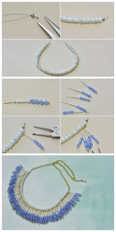 #Beebeecraft tutorials on how to make a #goldChain and #PearlNecklace with #BeadedTassels