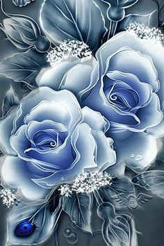 Romancing the Rose. By Artist Unknown. Beautiful Flowers Wallpapers, Beautiful Rose Flowers, Pretty Wallpapers, Exotic Flowers, Blue Flowers, Flower Phone Wallpaper, Butterfly Wallpaper, Flower Wallpaper, Nature Wallpaper