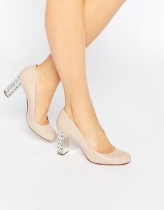 Dune Jewel Heel Patent Court Shoe