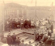The laying of the courthouse cornerstone, Placentia. Date: 1900 Location: Placentia, Newfoundland Miss You Daddy, Newfoundland And Labrador, Beautiful Islands, Community, Rock, History, Historia, I Miss You Dad, Skirt
