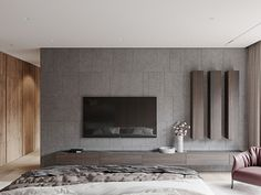 """Bedroom in project """"Аpartment in Barvikha Level Residence"""" by Ab-architects Modern Tv Room, Modern Tv Units, Modern Tv Unit Designs, Modern Living, Living Room Tv Unit Designs, Interior Design Living Room, Bedroom Tv Unit Design, Painel Tv Sala Grande, Tv Unit Decor"""