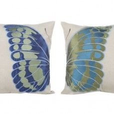 Half A Butterfly Embroidered Pillow, Set of 2    $48.00 @ http://www.antiquefarmhouse.com/current-sale-events/blue-terra-cotta.html
