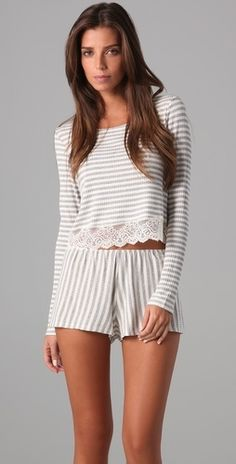 Cropped, ribbed-jersey tee crew neck lace trimmed hem pajamas.