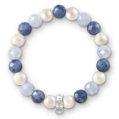 Thomas Sabo Women-Charm Bracelet Charm Club 925 Sterling Silver Freshwater Pearl white blue Length 17.5 cm X0210-772-7-L17,5 -- Click on the image for additional details. #Bracelets