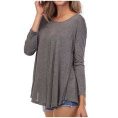 ✨PRICE DROP✨ Longsleeve Asymmetrical Top Soft charcoal gray top with asymmetrical hem and long sleeves. Very comfortable 95% rayon, 5% spandex.                                                             Sizes:  Small (2-4),  Medium (6-8), Large (10-12). Tops