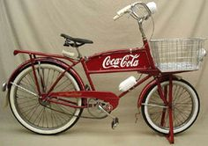 "A circa 1946 Schwinn cycle-truck bicycle with Coca-Cola . ""Looks very stylish doesn't she. That logo is so enduring!"" Thanks to Scott for sharing this pin. MAKETRAX.net - Bicycle TRADERS"