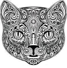 Sticker chat noir et blanc - contour Cat Coloring Page, Adult Coloring Book Pages, Animal Coloring Pages, Colouring Pages, Printable Coloring Pages, Coloring Books, Mandala Art, Doodles Zentangles, Cat Colors