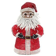 Santa Holiday Nightlamp  Affordable work of art. Hand sculpted and beaded.  Beads are high quality non fading or cracking glass and acrylic  Piece resists rust and corrosion ... great inside or out! Includes light and cord.