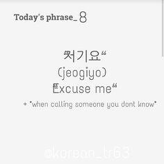 "181 Likes, 5 Comments - Wanna learn Korean? (@k.tutor63) on Instagram: ""Today`s phrase=》Excuse me? #korean"""