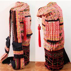 Yoga Mat Bag Tote Women Handmade Embroidered Pieces Of Tribal Costume Backpack And Handbags 2in1