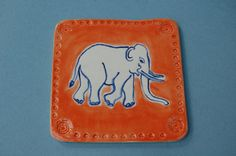 Ceramic Elephant Coaster Drinks Mat Pottery made in by REDceramics, £6.00