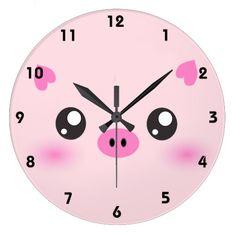 Cute Pig Face - kawaii minimalism Wall Clock available here : http://www.zazzle.com/cute_pig_face_kawaii_minimalism_wall_clock-256878214158377437?rf=238489066022089310