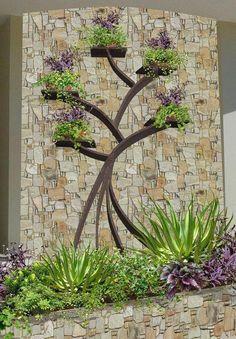 100 Beautiful DIY Pots And Container Gardening Ideas 100 hermosas macetas de bricolaje e ideas d Garden Projects, Garden Design, Garden Trees, Backyard Landscaping, Vertical Garden Diy, Garden Decor, Garden Wall, Backyard Garden, Backyard