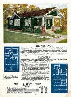 The Westover, 1928 Craftsman Bungalow fromt the Sterling Homes Catalog Bungalow Floor Plans, Craftsman House Plans, House Floor Plans, Bungalow Ideas, Craftsman Style, Sims 4 House Plans, Small House Plans, Vintage House Plans, Vintage Homes