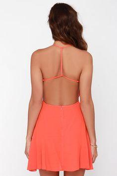 Flare for You Orange Backless Dress at Lulus.com!