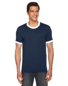 American Apparel Unisex Poly-Cotton Short-Sleeve Ringer T-Shirt BB410 NAVY/WHITE