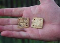Bone tablet weaving cards - About 30mm square,  Germanic, c AD 200.