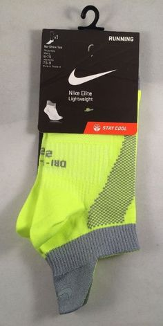New Nike Elite Lightweight Running Socks Men's Shoe Size 6-7.5 Neon Yellow Gray #Nike #Athletic