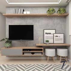 Excellent small living room designs are offered on our site. Take a look and you will not be sorry you did. Home Living Room, Interior Design Living Room, Living Room Decor, Bedroom Decor, Tv On Wall Ideas Living Room, Bedroom Tv Wall, Master Bedroom, Living Room Tv Unit Designs, Tv Unit For Bedroom