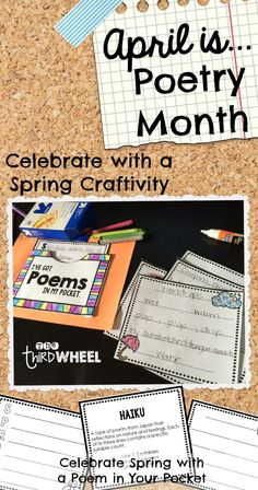 An April Poetry Craftivity for Poem in Your Pocket Day. A fun way to write and display spring poems in April. {Perfect for my bulletin board}