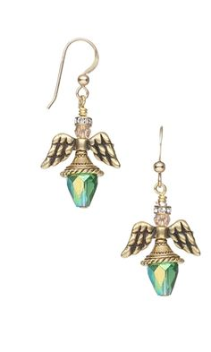 Angel Wing Earrings with Antiqued Copper Pewter Beads and Celestial Crystal® Beads by Jamie Smedley.