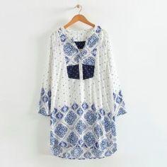 Vintage Scarf Floral Printed Cotton Mini Straight Dress https://allaboutyougifts.com/#DG0306
