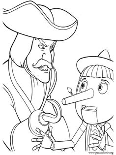 shrek coloring pages   Shrek - Captain Hook and Pinocchio coloring page