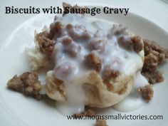 Biscuits with Sausage Gravy. A comforting Southern-style breakfast recipe adapted from Bisquick.