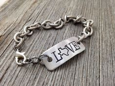 Texas LOVE Bracelet - Handstamped State Outline Map - Personalized and Custom Jewelry by DuctTapeAndDenim