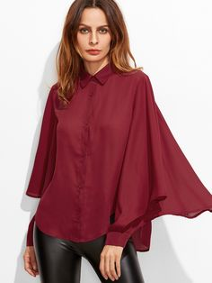 #AdoreWe #SheIn Blouses - SheIn Burgundy Pointed Collar Buttoned Cuff Oversized Ruffle Sleeve Blouse - AdoreWe.com