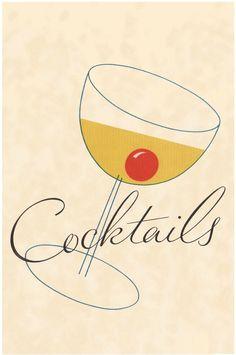 Cocktails Illustration 1930s