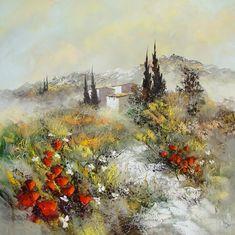 Peinture Huile sur Toile au couteau / Manuel RUBALO Art Sketchbook, Landscape Paintings, Oil Paintings, Painting & Drawing, Paint Colors, Illustration, Artsy, Pastel, Watercolor