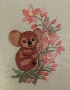 "Charmin Crewel Embroidery Kit KOALA Bear 04-549 With Green Frame 5"" X 7""  #Charmin"